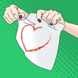 Ilustração do vetor das mãos fêmeas que rasgam o papel Fotografia de Stock Royalty Free
