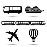 Ilustração do vetor de ícones pretos do transporte ilustração royalty free