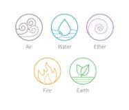 Ilustração do vetor de Ayurveda Ícones dos elementos de Ayurvedic Fotos de Stock