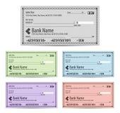 Ilustração do vetor de banco das verificações de cores diferentes vazias dentro ilustração stock