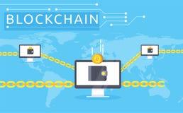 Ilustração do vetor de Blockchain no estilo liso Imagens de Stock