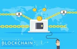 Ilustração do vetor de Blockchain no estilo liso Imagens de Stock Royalty Free