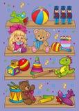 Ilustração do vetor de brinquedos diferentes em prateleiras Ilustração Stock