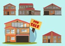 Ilustração do vetor de casas coloridas dos desenhos animados bonitos para a venda ou o aluguel Ilustração lisa das construções do Foto de Stock Royalty Free
