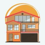 Ilustração do vetor de casas coloridas dos desenhos animados bonitos para a venda ou o aluguel Ilustração lisa das construções do Imagem de Stock Royalty Free
