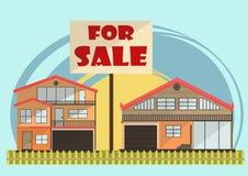 Ilustração do vetor de casas coloridas dos desenhos animados bonitos para a venda ou o aluguel Ilustração lisa das construções do Fotografia de Stock