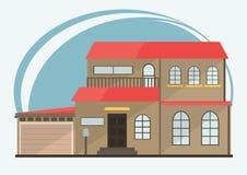 Ilustração do vetor de casas coloridas dos desenhos animados bonitos para a venda ou o aluguel Ilustração lisa das construções do Fotos de Stock Royalty Free