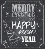 Ilustração do vetor de citações do Natal do estilo do quadro com árvore e flocos de neve de Natal Foto de Stock Royalty Free