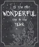 Ilustração do vetor de citações do Natal do estilo do quadro com esboço de velas derretidas, de ramo da árvore de Natal e de floc Imagem de Stock