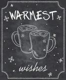 Ilustração do vetor de citações do Natal do estilo do quadro com esboços de dois copos do chocolate quente com marshmallow e floc Fotos de Stock