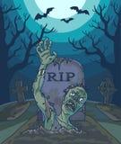 Ilustração do vetor de Dia das Bruxas com o homem inoperante, a lua e a sepultura do zombi assustador ilustração stock