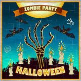 Ilustração do vetor de Dia das Bruxas - os braços do homem inoperante da terra com convite ao zombi party Imagem de Stock Royalty Free