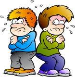 Ilustração do vetor de dois meninos dos inimigos Foto de Stock Royalty Free