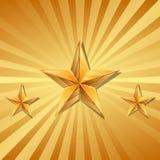 Ilustração do vetor de 3 estrelas do ouro Imagens de Stock Royalty Free
