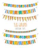 Ilustração do vetor de festões coloridas da bandeira sobre Fotos de Stock Royalty Free