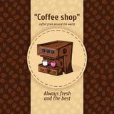 Ilustração do vetor de fundos do café do vintage Máquina automática para o café com dois círculos pequenos Menu para o restaurant Fotos de Stock