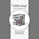 Ilustração do vetor de fundos do café do vintage Máquina automática para o café com dois círculos pequenos Menu para o restaurant Imagem de Stock Royalty Free