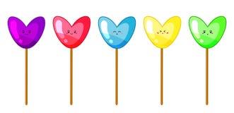 Ilustração do vetor de lollypops coloridos em cores ácidas no varas isoladas no fundo branco ilustração royalty free