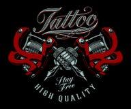 Ilustração do vetor de máquinas da tatuagem em um fundo escuro ilustração royalty free