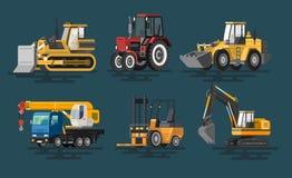Ilustração do vetor de máquinas lisas da construção ilustração royalty free
