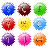 ilustração do vetor de nove ícones lustrosos da finança Foto de Stock