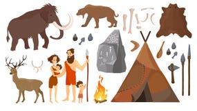 Ilustração do vetor de povos da Idade da Pedra com os elementos para a vida, caçando ferramentas Pai de família Neanderthal primi ilustração royalty free