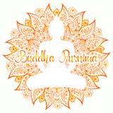 Ilustração do vetor de Purnima da Buda Mandala, flor de lótus com silhueta dos buddhas