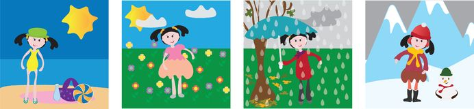 Ilustração do vetor de quatro estações menina com roupa e fundo diferentes ilustração royalty free