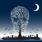 Ilustração do vetor de sepulturas da lua da árvore do crânio Fotos de Stock Royalty Free