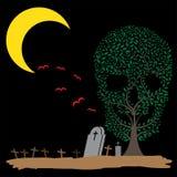 Ilustração do vetor de sepulturas da lua da árvore do crânio Imagens de Stock Royalty Free