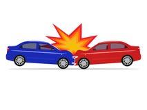 Ilustração do vetor de um acidente de trânsito dos desenhos animados Fotografia de Stock Royalty Free