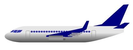 Ilustração do vetor de um avião branco-azul Fotografia de Stock Royalty Free
