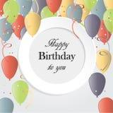 Ilustração do vetor de um cartão do feliz aniversario ilustração stock