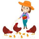Ilustração do vetor de um fazendeiro Girl que alimenta a galinha com alimentações ilustração stock