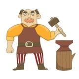 Ilustração do vetor de um ferreiro masculino com um martelo e um batente Sombrio, severo, guarda um martelo, em uma camisa amarel ilustração royalty free