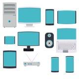 A ilustração do vetor de um grande grupo de ícones lisos de computadores digitais dos smartphones do smartphone monitora modens d ilustração do vetor