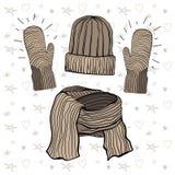 A ilustração do vetor de um inverno fez malha os artigos ajustados: escala do chapéu, do lenço e do café do mittensBrown Imagens de Stock Royalty Free