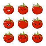 Ilustração do vetor de um jogo de caracteres vegetal do vetor dos desenhos animados bonitos do tomate isolado no branco emoções e ilustração stock