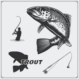 A ilustração do vetor de um peixe da truta e a pesca projetam elementos Foto de Stock Royalty Free