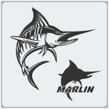 A ilustração do vetor de um peixe do espadim e a pesca projetam elementos Fotos de Stock