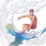 Ilustração do vetor de um surfista ilustração stock