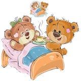 A ilustração do vetor de um urso de peluche marrom loving trouxe uma bandeja com café da manhã e sua amiga que encontra-se na cam ilustração do vetor