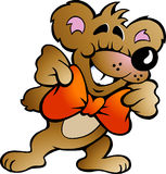 Ilustração do vetor de um urso feliz do partido Imagens de Stock