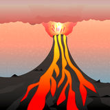 Ilustração do vetor de um vulcão ativo Fotos de Stock Royalty Free