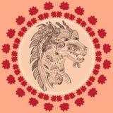 Ilustração do vetor de uma garatuja chinesa do dragão Foto de Stock