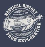 Ilustra??o do vetor de uma garrafa com navio ilustração stock