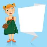 Ilustração do vetor de uma menina com branco ou Imagem de Stock