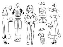 Ilustração do vetor de uma menina que tenta na roupa ajustada Fotos de Stock Royalty Free