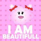 Ilustração do vetor de uma nuvem bonito da menina Crianças engraçadas do personagem de banda desenhada em um fundo cor-de-rosa co Imagens de Stock Royalty Free