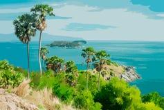 Ilustração do vetor de uma paisagem tropical com o mar ilustração stock